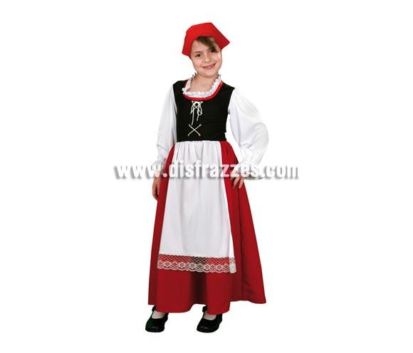 Disfraz de Pastora Aldeana para niña. Talla de 5 a 6 años. Incluye vestido con camisa, chaleco, falda, delantal y pañuelo.