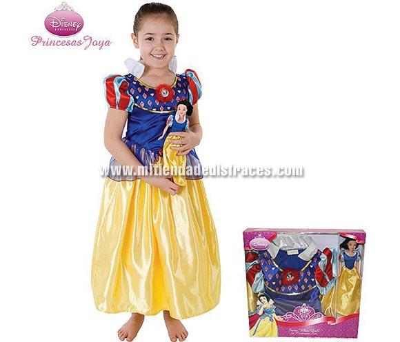 Caja Disfraz de Blancanieves Disney con muñeca. Talla de 5 a 7 años. Incluye disfraz y muñeca. Un disfraz con licencia Disney ideal para pedir a los Reyes Magos o Papa Noel, también para regalar en cualquier fecha del año.