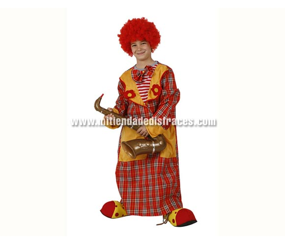 Disfraz de Payaso cuadros infantil. Talla de 5 a 6 años. Incluye túnica-abrigo con pajarita. Zapatones, peluca y Saxofón NO incluidos.