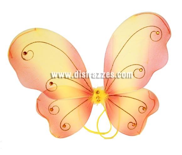 Alas en forma de mariposa amarilla de 37x47 cm. para Carnavales.
