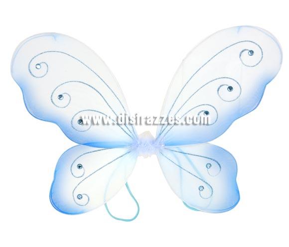 Alas en forma de mariposa azul de 36x49 cm. para Carnavales.