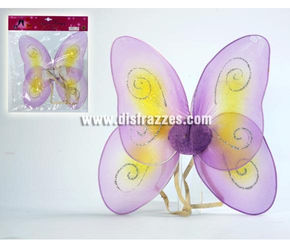 Alas de mariposa de color lila de 39x33 cm. para Carnavales.