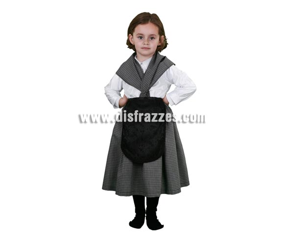 Disfraz de Castañera o Vieja para niña. Talla de 5 a 6 años. Incluye pañuelo, delantal, vestido.