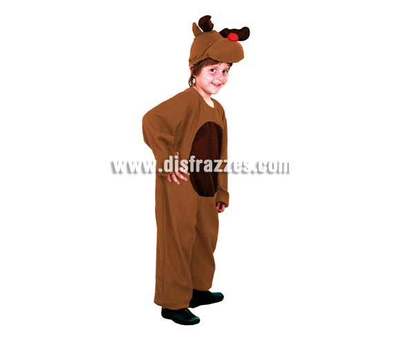 Disfraz de Reno infantil barato. Talla de 5 a 6 años. Incluye mono y capucha. Un disfraz muy apropiado para la Navidad y para teatros del cole.
