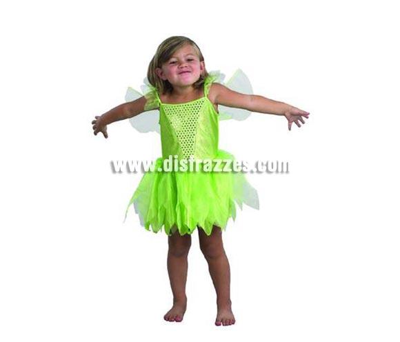 Disfraz de Campanilla infantil barato para Carnaval. Talla de 4 a 6 años. Incluye vestido y alas. Traje de Campanilla, el Hada de Peter Pan.