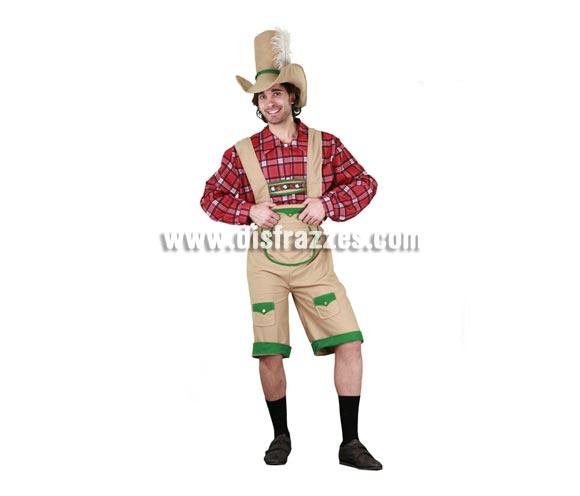 Disfraz de Tirolés adulto. Talla standar M-L = 52/54. Incluye sombrero, camisa y pantalones cortos. Con éste disfraz en una Fiesta de la Cerveza la puedes liar parda, jejejeje.