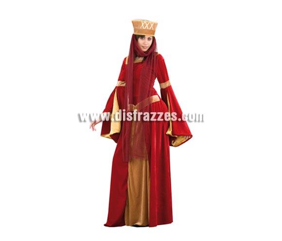 Disfraz barato de Lady Ginebra adulta económico. Talla XL 44/48. Incluye vestido y tocado con tul. Un disfraz ideal para Fiestas Medievales.
