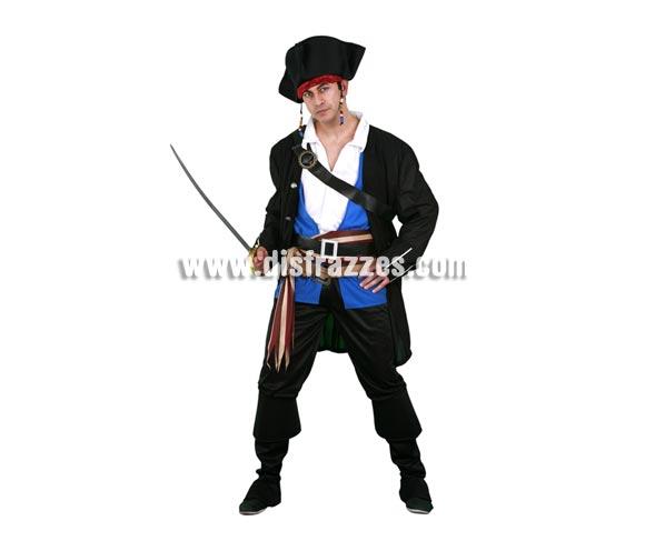 Disfraz de Pirata Chulo para hombre. Talla Standar M-L = 52/54. Incluye sombrero, camisa, chaqueta, pantalón-cubrebotas, 2 cinturones, fajín y bandolera. Espada NO incluida, podrás verlas en la sección Complementos. Éste traje de de Pirata del Caribe para hombre de gran diseño al que no le falta detalle, es muy bonito para lucirlo en cualquier tipo de Fiesta de disfraces y por supuesto en Carnaval.