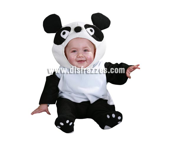 Disfraz barato de Oso Panda bebé para Carnaval. Talla de 6 a 12 meses. Incluye mono y capucha. No me digas que no estaría gracioso tu bebé con éste disfraz. Talla pequeño, por lo que no lo recomendamos para bebés de más de 9 meses.