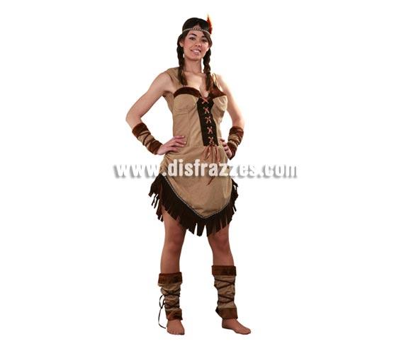 Disfraz de India adulta para Carnaval. Talla standar M-L 38/42. Incluye vestido, cinta de la cabeza, muñequeras y calentadores con cinta.