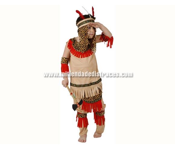 Disfraz de Indio Piel Roja infantil. Talla de 7 a 9 años. Incluye tocado, camisa, pantalón y accesorio brazos. Hacha NO incluida, podrás verla en la sección Complementos.