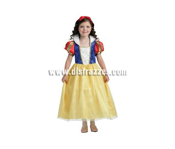 Disfraz de Blancanieves niña talla de 5 a 6 años. Incluye vestido y diadema. Buena calidad. Un disfraz ideal para regalar en cualquier ocasión del año.