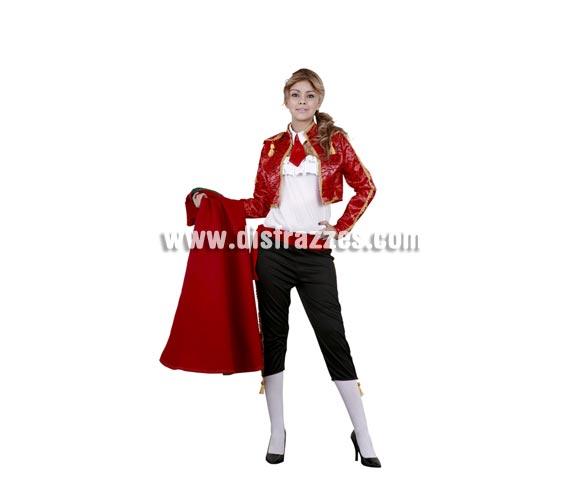 Disfraz barato de Torera sexy adulta. Talla standar M-L 38/42. Incluye cuello, top, chaqueta, fajín y pantalón. Capote NO incluido, podrás verlos en la sección complementos.