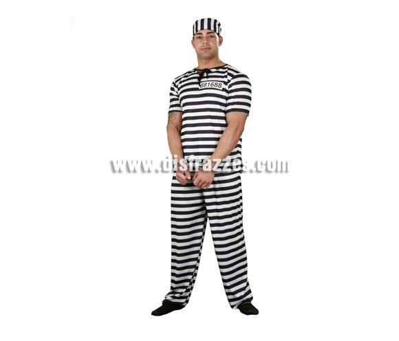 Disfraz muy barato de Preso o Prisionero adulto. Talla Standar M-L = 52/54. Incluye camisa, pantalón, gorro y número. Un disfraz ideal para Despedidas de Soltero.