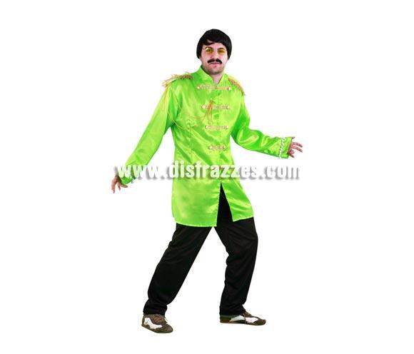 Disfraz de Estrella del Pop verde adulto. Talla standar M-L 52/54. Incluye casaca y pantalón. Peluca, bigote y gafas NO incluidos, podrás ver éstos artículos en la sección Complementos. Con éste disfraz irás vestido igual que Los Beatles y serás el centro de la Fiesta.