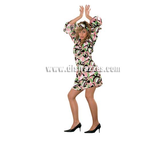 Disfraz de mujer años 70 verde-rosa adulta. Incluye vestido y cinta de la cabeza. Un disfraz muy sexy para ir a la moda retro. Talla stándar 38/42.