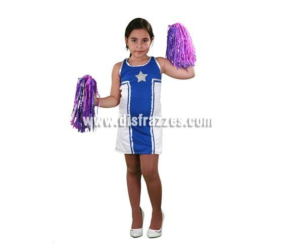 Disfraz barato de Animadora Estrella infantil para Carnavales. Talla  de 5 a 6 años. Incluye vestido. Pompones NO incluidos, podrás verlos en la sección de Complementos. Disfraz de Cheerleader para niñas, para jugar a ser protagonistas de High School Musical.