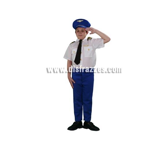 Disfraz barato de Piloto de Aerolínea infantil para Carnavales. Talla de 10 a 12 años. Incluye sombrero, camisa con corbata y pantalones.