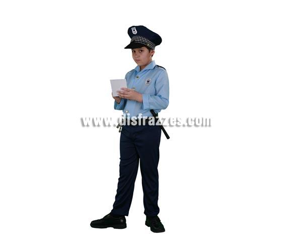 Disfraz de Policía infantil barato para Carnavales. Talla de 10 a 12 años. Incluye gorra, camisa y pantalón con cinturón. Esposas y porra NO incluidas, podrás verlas en la sección Complementos.