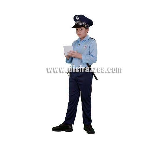 Disfraz de Policía infantil barato para Carnavales. Talla de 7 a 9 años. Incluye gorra, camisa y pantalón con cinturón. Esposas y porra NO incluidas, podrás verlas en la sección Complementos.