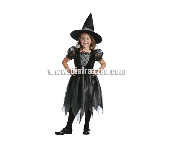 Disfraz de Bruja Mágica barato talla de 5 a 6 años para Halloween. Incluye vestido y sombrero.