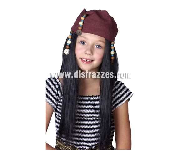 Peluca de Pirata para niña con cinta y colgantes.