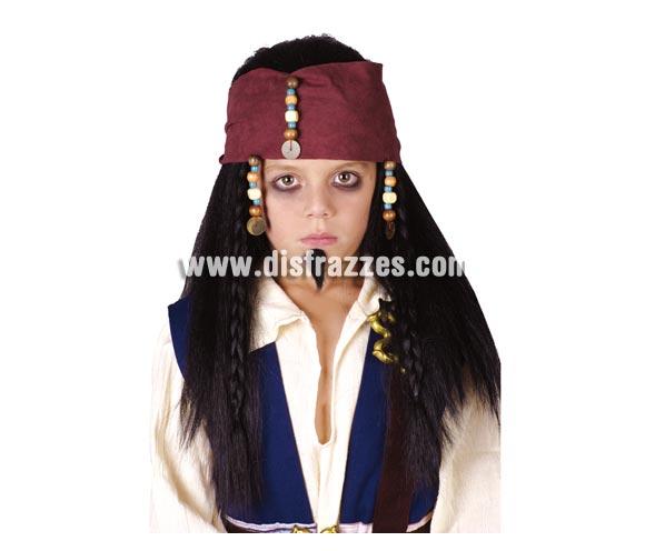 Peluca de Pirata para niño con cinta y colgantes. Esta peluca me recuerda al capitán Jack Sparrow.