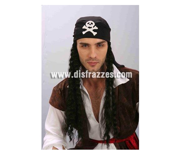 Pañuelo Pirata con peluca de hombre para Carnaval. Talla universal adulto.