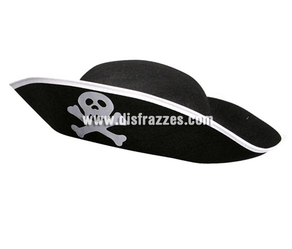 Sombrero de Pirata infantil de fieltro negro para Carnaval.