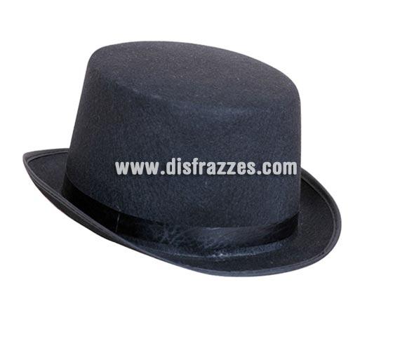 Sombrero de copa fieltro negro o Chistera negra adultos para Carnaval.