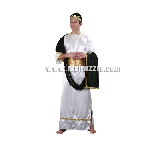 Disfraz de César adulto. Talla standar M-L 52/54. Incluye túnica, manto, cinturón y corona. Disfraz de Romano adulto perfecto también para Cabalgatas de Reyes y representaciones teatrales.