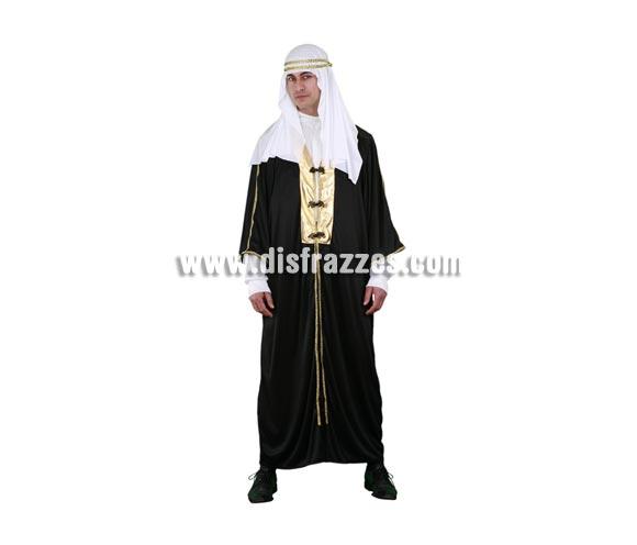 Disfraz de Jeque Árabe adulto. Talla standar M-L 52/54. Incluye túnica, pañuelo y cordón. Disfraz de Moro o de Laurence de Arabia para hombre.