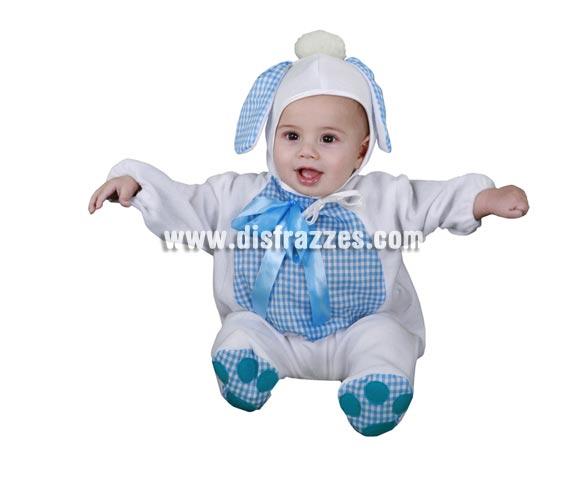 Disfraz barato de Perrito Azul Bebés para Carnaval. Talla de 6 a 12 meses. Incluye mono y gorrito.
