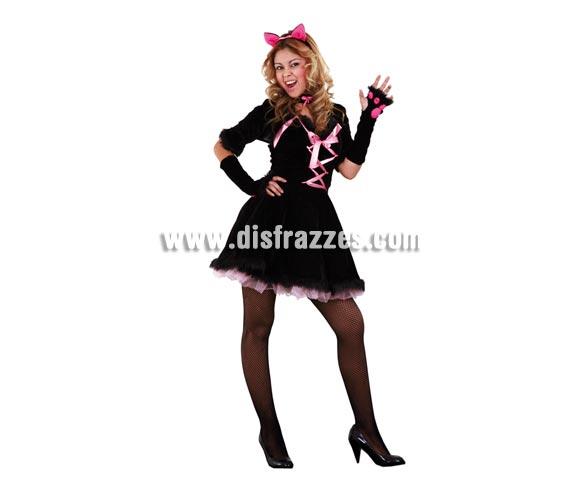 Disfraz de Gatita Traviesa Sexy adulta. Talla Standar M-L = 38/42. Incluye diadema, gargantilla, vestido y mitones o guantes. Un disfraz muy sexy también para Despedidas de Soltera.
