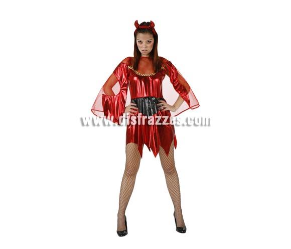 Disfraz de Diablesa Sexy adulta para Halloween. Talla única 38/42. Incluye vestido y tocado.