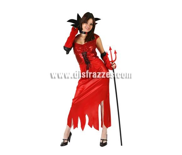 Disfraz de Demonia o Diablesa adulta para Halloween. Talla XL = 44/48. Tridente NO incluido, podrás verlo en la sección de Complementos para Halloween.