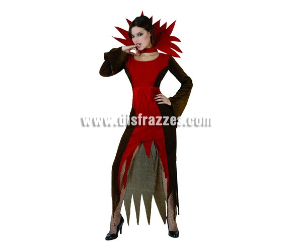 Disfraz de Vampira o Vampiresa adulta para Halloween. Talla única 38/42. Incluye vestido y cuello.