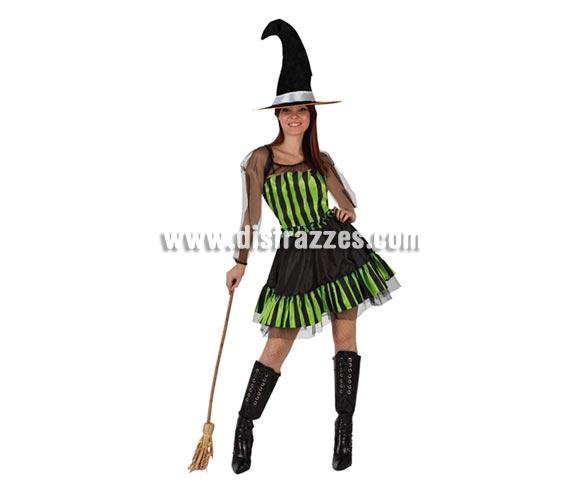 Disfraz Sexy de Bruja Verde adulta para Halloween. Talla única M-L 38/42. Incluye Sombrero y Vestido. Escoba NO incluida, podrás verla en la sección de Complementos para Halloween.