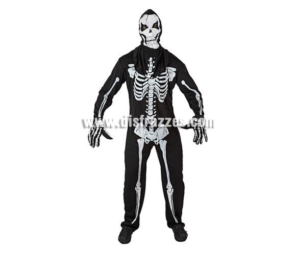 Disfraz de Esqueleto viviente adulto para Halloween. Talla XL = 54/58. Incluye mono, guantes y máscara.