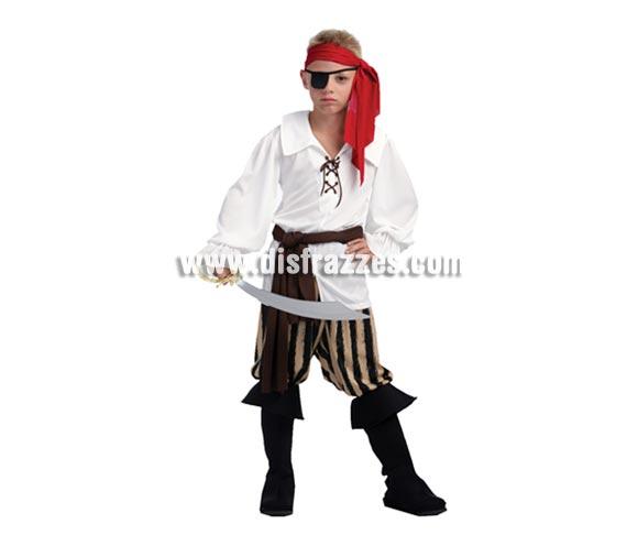 Disfraz barato de Capitán Pirata infantil. Talla de 10 a 12 años. Incluye camisa, pantalón, cubrebotas, pañuelo y fajin. Espada NO incluida, podrás verla en la sección de Complementos.