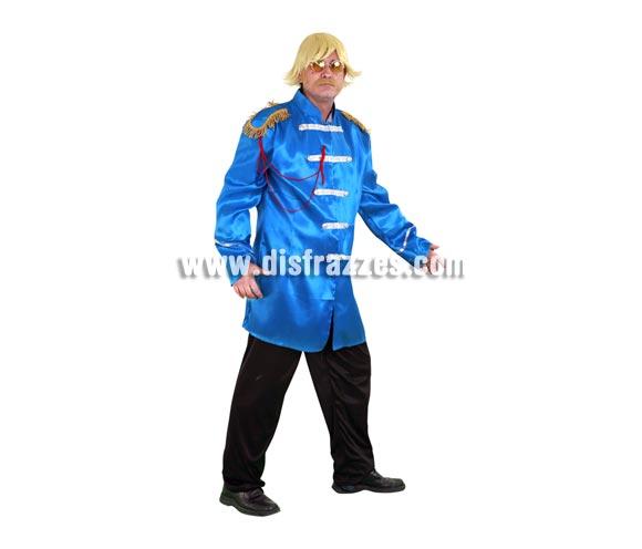 Disfraz de Estrella del Pop turquesa adulto. Talla standar M-L 52/54. Incluye casaca y pantalón. Peluca, bigote y gafas NO incluidos, podrás ver éstos artículos en la sección Complementos. Con éste disfraz irás vestido igual que Los Beatles y serás el centro de la Fiesta.