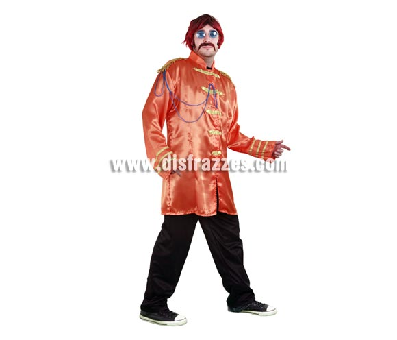 Disfraz de Estrella del Pop naranja adulto. Talla standar M-L 52/54. Incluye casaca y pantalón. Peluca, bigote y gafas NO incluidos, podrás ver éstos artículos en la sección Complementos. Con éste disfraz irás vestido igual que Los Beatles y serás el centro de la Fiesta.