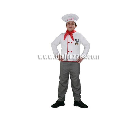 Disfraz barato de Cocinero infantil para Carnavales. Talla de 7 a 9 años. Incluye gorro, pañuelo, camisa y pantalón.