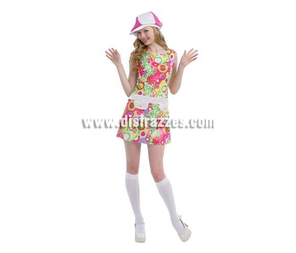 Disfraz de Chica Go-Go años 60 adulta para Carnaval. Talla standar M-L 38/42. Incluye vestido y sombrero. Ideal para Fiestas Hippies o Años 60.