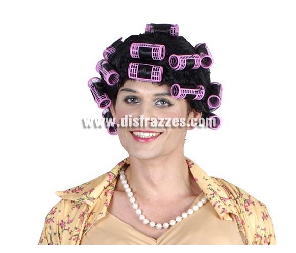 Peluca de Maruja Ama de Casa graciosa con rulos para Caranval. Talla Universal adultos. Ideal para Despedidas de Soltero.