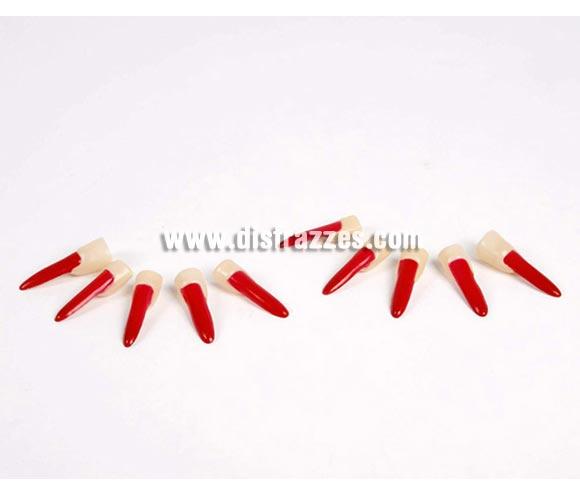 Set dedos y uñas postizas rojas Diablesa para Halloween o para Despedida de soltera.