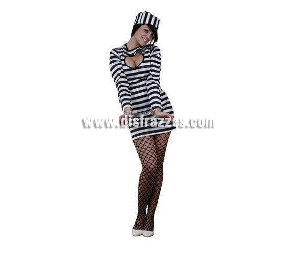 Disfraz Super barato de Prisionera corazón Sexy para mujer. Talla standar M-L 38/42. Incluye vestido y gorro. Un disfraz muy sexy ideal para Despedidas de Soltera. Disfraz de Presa sexy para mujer. Esposas NO incluidas, podrás verlas en la sección de Complementos.