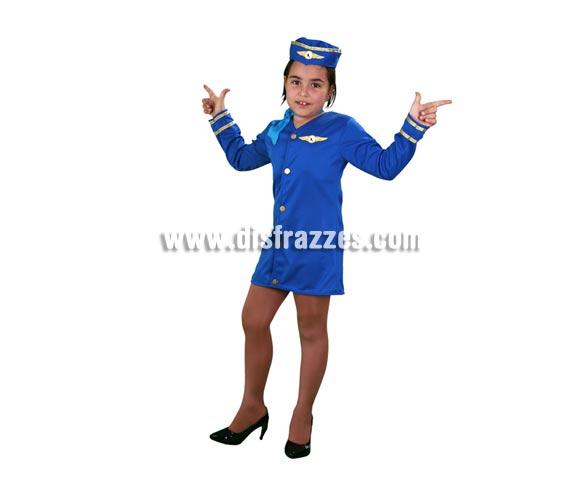 Disfraz barato de Azafata de vuelo infantil para Carnavales. Talla de 7 a 9 años. Incluye vestido, pañuelo y gorro.