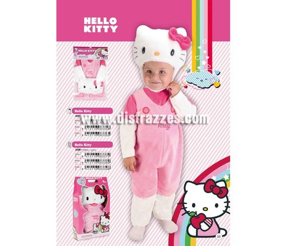 Disfraz de Hello Kitty infantil. Talla de 3 a 5 años. Incluye mono y capucha. Presentación en bolsa y percha. Disfraz con licencia perfecto como regalo.