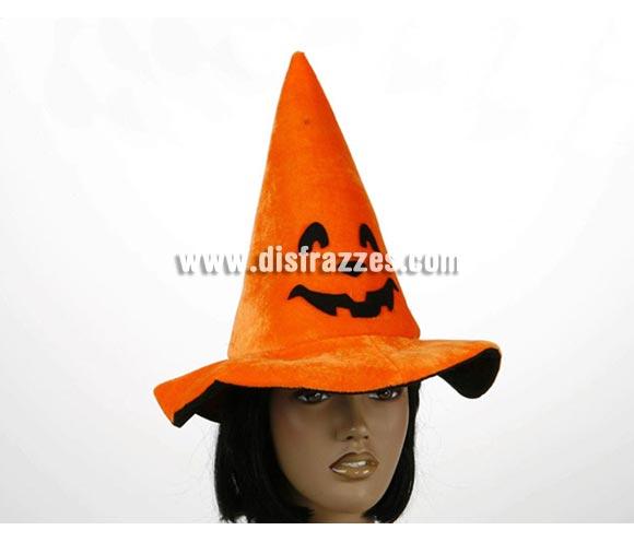 Sombrero de Bruja naranja Calabaza con Cascabel para Halloween.